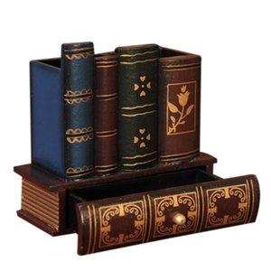 Forma de libro de madera titular de la pluma de múltiples funciones de madera del arte retro de la decoración del hogar de lápiz de escritorio Caja de almacenamiento cajones de escritorio Hold