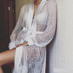 Cardigan Kaftan las mujeres del cordón floral Mantón Escudo desgaste de la playa del traje de baño largo Cover Up tapas de la blusa del Cabo 2020 Pareo atractivo del bañador