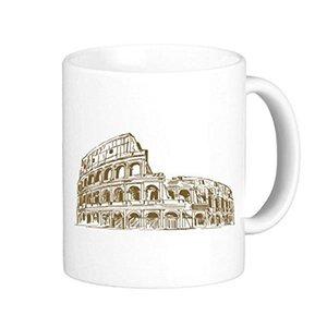 Italia Roma Schizzo Paesaggio Paese Città Punto di riferimento Illustrazione Modello Classico Tazza Ceramiche bianche Tazza in ceramica Caffè latte con manici 350 ml