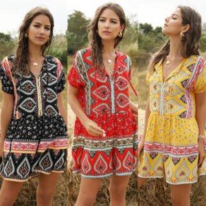 Kadın Pantolon 2020 İlkbahar / Yaz Kadın Günlük Stil Yaz Tatili Tema Moda Gevşek Jumpsuit 3 renkli Seçilmiş Boyut S-XL yazdır