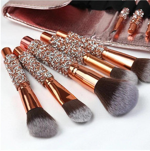 10pcs / set diamante Makeup Brushes Kit Women Make Up Tool Blending Contour Fundação sombra Escova com Cosmetic Bag