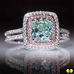 New Square Blue Stone Ring Trendy Pink Crystal Jewelry Ring For Women Wedding Engagement Party Birthday Ring