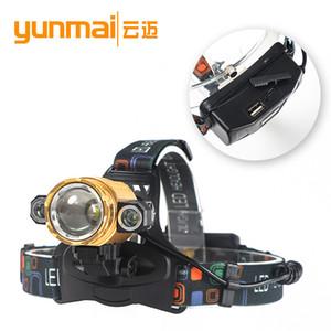 Novo Padrão 3LED T6 Luz carga USB Faróis Noite Caça 180 ° Rotating suporte da lâmpada