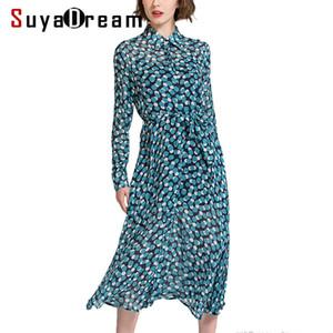 PRE SALE Femmes robe de soie 100% vraie soie Ceinture taille longue robe courte 2019 Printemps Eté Dots Imprimer robes New Blue T5190615