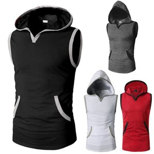 mens designer 18 casual slim solid color sleeveless hooded T-shirt with edge design