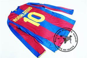 Free shipping 2007 08 home messi ronaldinho toure yaya eto giovani bojan henry puyol iniesta old retro shirts long sleeves soccer jersey