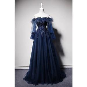Azul marino 2019 vestidos de noche de plumas con mangas llenas de manga larga Aline Vintage Vestidos de fiesta largos en el hombro Cristal Abendkleider