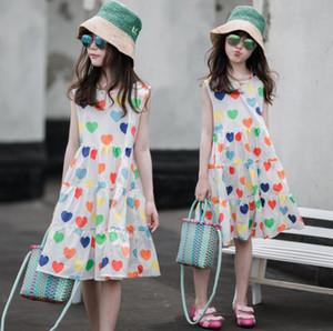 amor Ins New férias à beira-mar do verão da menina impressa colete frete grátis saia doce vestido de algodão sem mangas