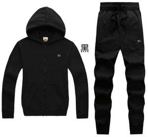 LACOSTE Dois Set Pieces Moda moletom com capuz Sportswear Treino Homens Hoodie Men Hot Roupa Hoodies + calças Set