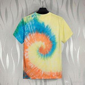 2020 Нового прибытия Пальмовой T-Shirt Men Дизайнерской Красочная Tie Dye Печатных Ангелы футболка Summer Casual Mens хлопок с коротким рукавом Tee-стрит