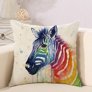 Funda de almohada de lino animal Rainbow Funda de almohada decorativa animal Funda de almohada Funda de almohada cómoda