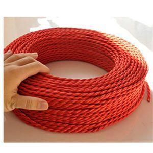 Freeshipping 100m / Lot 2 * 0,75 Cuivre Toile Cuisson Fil Vintage Style Edison Edison Lumière Cordon Tissu Tissu Éclairage Flex Câble électrique