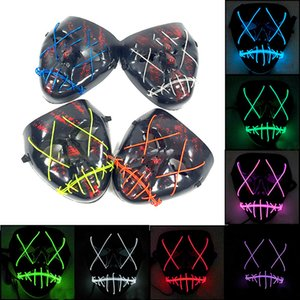 LED Halloween Masks Party Mask EL Wire Glowing Mask Black Masquerade Birthday Mask Carnival Cosplay Masks WX9-954