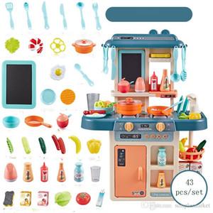 27PCS 37pcs 43pcs / set crianças Cozinha Brinquedos Cozinhar Toy Play para as crianças Brinquedos Pretend Play Com Luz Sound Effect engraçado Casa de presente em miniatura