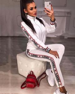 Moda Feminina Jaquetas + Calças Esportivo Terno Moletom Com Capuz Zipper Cardigan Calças Ternos Designers Treino Conjunto de Duas Peças Setwo Conjuntos de Roupas FJ203