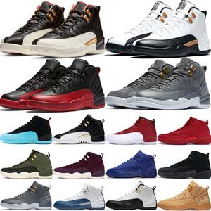 12 12s homens tênis de basquete CNY 2019 ovo branco Flu Game CNY cinza escuro Táxi playoff Francês Azul mens sapatos de grife