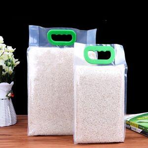 Прозрачный пластиковые упаковки зерна риса мешки качества еды вакуума мешок большой мешок карман для хранения кухня organzier LX1783