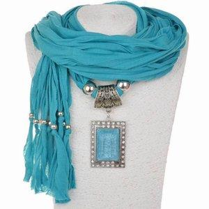 Charme Blue Resin Stone Gemstone Goutte dʻeau goutte de pluie pendentif collier foulard strass glands bijoux foulards