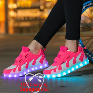 2019 Tenis Zapatillas Led Zapatillas brillantes para niños y niñas Light Up dance party Zapatos para niños Led Luminous Shoes 28-40 tenis infantil