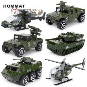 HOMMAT 1:87 Hotweels Auto Army Military Tank elicottero modelle Model Car Fonde sotto pressione in lega Veicoli giocattolo auto giocattoli per i bambini