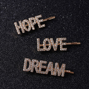 3 Unids / set Pretty LOVE HOPE DREAM Crystal Hair Clips Para Damas Chica Boda Rhinestone Headwear Pins Belleza Herramientas Accesorios