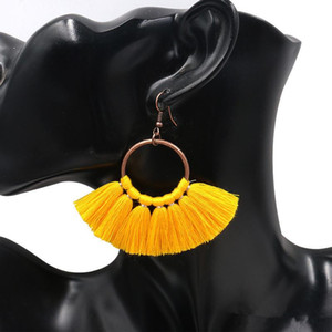 Womens Fringe Fashion Hook Long Jewelry Gift Dangle Ethnic Pendientes Pendientes Bohemian Tassel Eardrop Scgtf