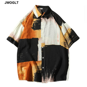 2020 Summer New Color Block Shirt Casual Shirt Male Short-Sleeved Korean Trend Cool Button Down Streetwear Social Blouse
