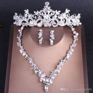 Charming Silver Beads Bridal Jewelry Sets 3 Pieces Suits Necklace Earrings Tiaras Crowns Bridal Accessories Wedding Jewelry Sets T307733