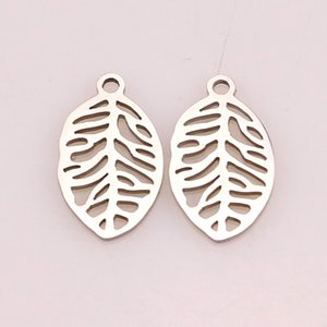 5pcs Single Hole Stainless Steel Jewelry Small Leaf Charms for Jewelry Making Leaves Pendants Diy Bracelet Necklace Accessories