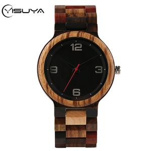 YISUYA completa Madeira Assista Masculino Único de várias cores de madeira Banda Quartz Assista Men Relógio Man Round Top Dial Reloj Hombre