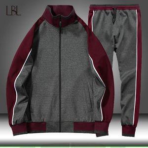 Spring Autumn 2 Piece Sets Tracksuit Men Zipper Sportswear Jogger Jacket + Pant Track Suits Set Mens Casual Sportsuit Clothing T200707