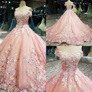 Pink Quinceanera Dresses 2020 Newest 3D Floral Applique Handmade Flowers Beaded Off the Shoulder Short Sleeves Prom Formal Evening Ball Gown