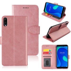 Kimlik kartı yuvası ile Wiko Y80 60 70 Sunny4 View3 Pro arka kapak telefon Case Düz renk basit çevirme deri cüzdan deri çanta
