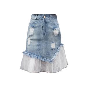 Artı Boyut Delik Mesh Patchwork Denim Etekler Kadınlar Yaz Yüksek Bel A Hattı Fishtail falda mujer moda 2019 Etekler Kot Saia f514