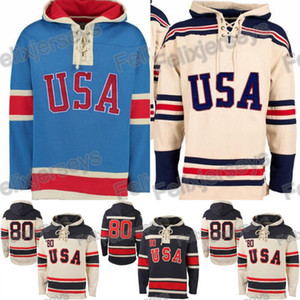 1980 Miracle On Team USA Hockey Ice Hockey Jerseys Jersey Hoodies personalizado qualquer nome qualquer número costurado Hoodie Sports Sweater frete grátis