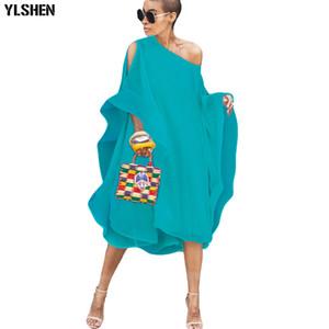 Summer Chiffon African Dresses for Women 2019 News Fashion Sexy Off-shoulder Sleeve Long Africa Dress Bazin Casual Skirt