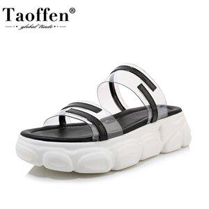 TAOFFEN Plus Size 29-46 Mulheres Sandálias de dedo aberto grossas de fundo Casual Women Shoes Chinelos Verão Patchwork Mujer Calçado
