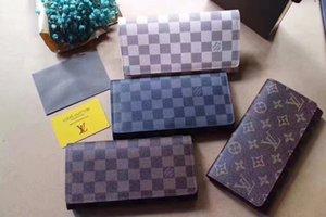 Paris hombre del diseñador cuadros estilo billetera hombres famosos bolso especial de lujo bolsas de lona varias pequeña carpeta corta de doble pliegue con la caja