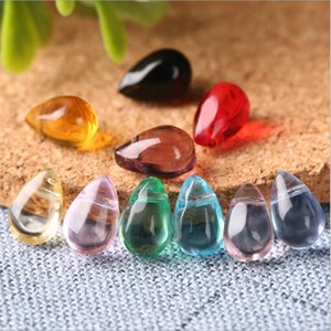 High quality 6*9mm crystal clear and translucent small water droplets glass beads GSLLZ001 handmade DIY