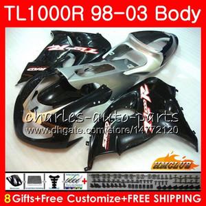 Carenado para SUZUKI SRAD TL1000R TL 1000 R TL 1000R Kit 19HC.65 TL1000 R 98 99 00 01 02 03 1998 1999 2000 2001 2002 2003 Bodys negro plata