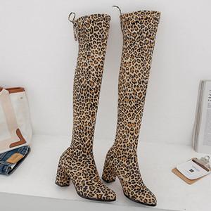 LAKESHI sexy alta della coscia Stivali da indossare sui talloni del ginocchio Stivaletti Overkneeboot Donne lungo femminile pelle scamosciata tacco alto