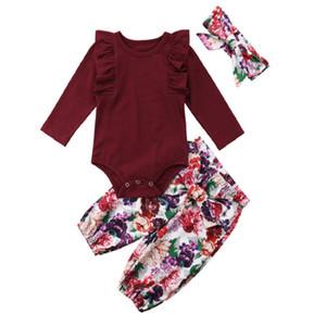 Sıcak Satmak 3 Adet Bebek Bebek Çocuk Kız Tulum Romper Bodysuit Çiçek Pantolon Setleri Kıyafetler Üst Pantolon