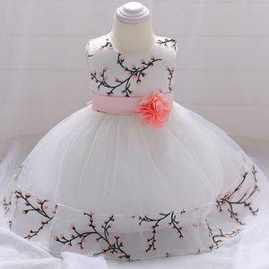 MQATZ 2019 Yeni Stil Yenidoğan Kız Parti Elbise Aplikler Kız Gelinlik Kayışlı Çiçek Bebek Kız Doğum Elbiseler Yaz
