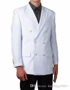 New Arrivals Double Breasted White Groom Tuxedos Peak Lapel Groomsmen Best Man Blazer Mens Wedding Suits (Jacket+Pants+Tie) D:345