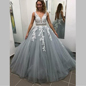 Romantic Prom Dresses for Woman 2019 New V neck A-Line Tulle and Long Lace Appliques beautiful Princess vestido de casamento