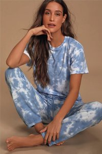 Hot Free for Pajamas Tiedye for Womens Crew Neck Tie Dye Pajama Short Sets Set Tie Dye Sleepwear Pajamas Tie-dye Floral Print Bwkf