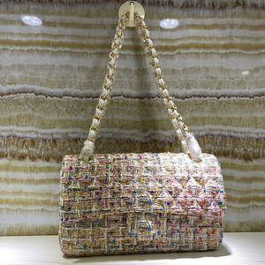 Chaîne sac à bandoulière femmes Sacs à main Sacs à main Sac bandoulière femme Mode New Style de haute qualité Patchwork Tweed Moraillon Sac à rabat Livraison gratuite