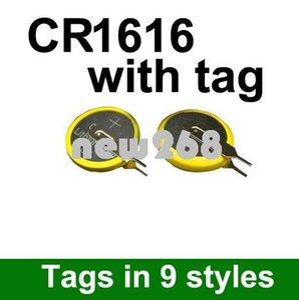 Freeshipping بالجملة 500pcs / lot خلية زر خلية ليثيوم 3V / عملة خلية البطارية CR1616 مع علامة التبويب