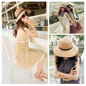 Summer New Fashion Woven Straw Hats For Women Big Outdoor UV Hats Sun bow Brim Protection Beach Ladies Colors 4 Wide K4G9