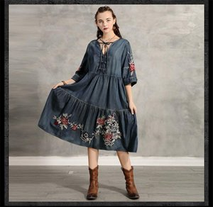 Designer Womens Dress Fashion Embroidery Loose Dresses Casual Womens Vintage Clothing
